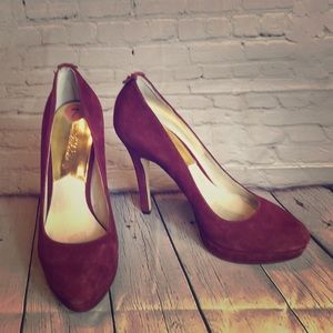 "Michael Kors burgundy suede platform w 5"" heel"